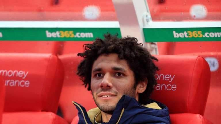 Arsenal's Mohamed Elneny was named on the bench at Stoke