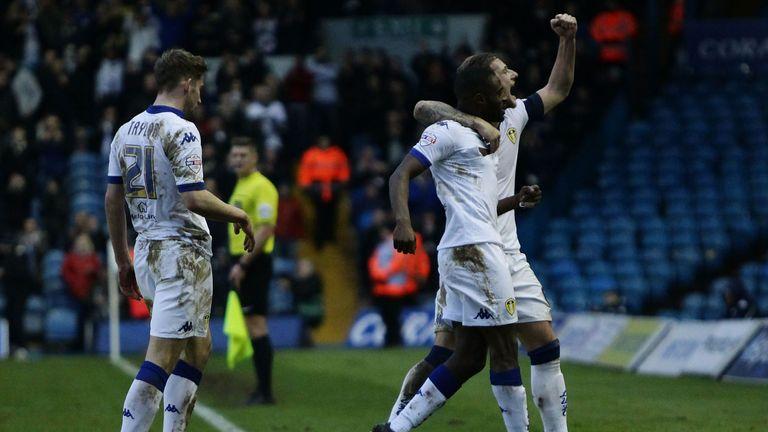 Leeds celebrate Mustafa Carayol's goal against Rotherham