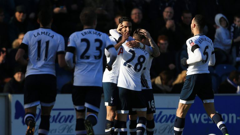 Nacer Chadli celebrates after scoring against Colchester