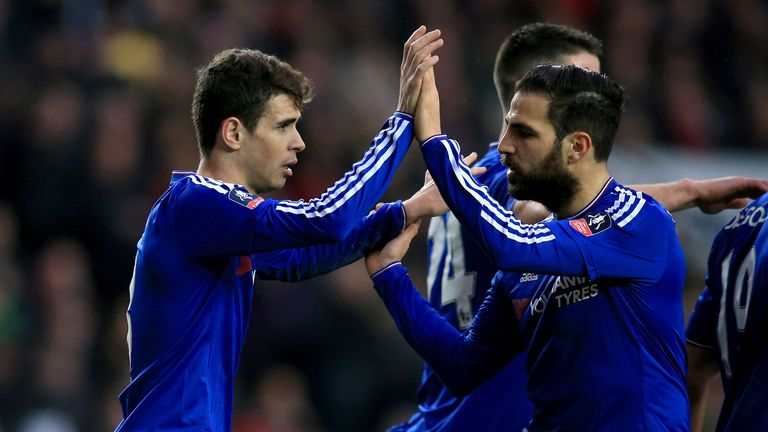 Oscar became the first Chelsea player to score a hat-trick for the club since Diego Costa in September 2014