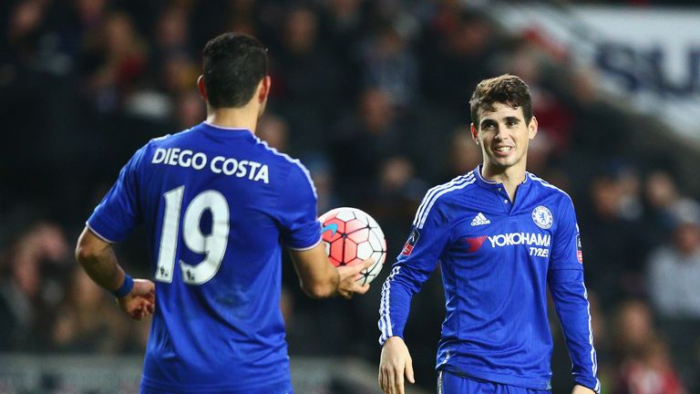 Oscar celebrates after scoring a hat-trick for Chelsea