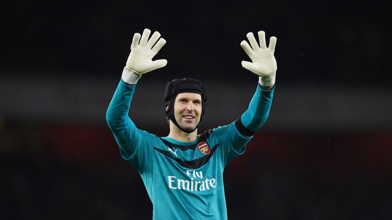 Petr Cech of Arsenal applauds the supporters after the Barclays Premier League match between Arsenal and Newcastle United