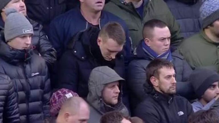 Phil Jones watches Manchester United's game at Anfield from the away end