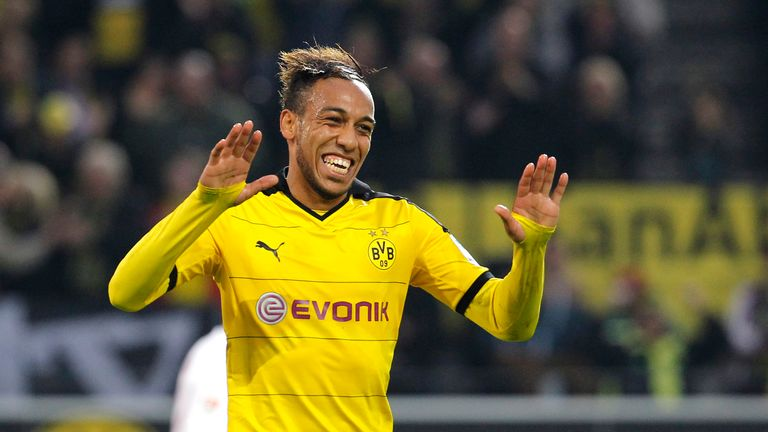 Pierre-Emerick Aubameyang of Dortmund celebrates