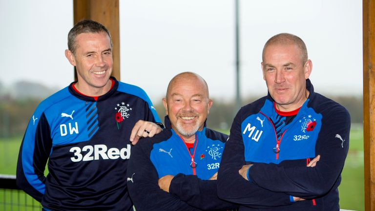 Rangers assistant Davie Weir, head of recruitment Frank McParland and manager Mark Warburton