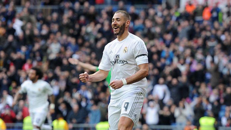 Karim Benzema celebrates after scoring for Real Madrid