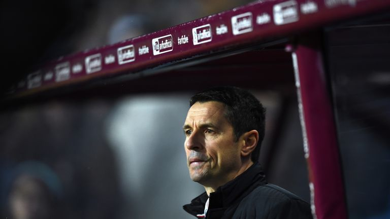 Remi Garde looks on prior to the Barclays Premier League match between Aston Villa and Crystal Palace at Villa Park