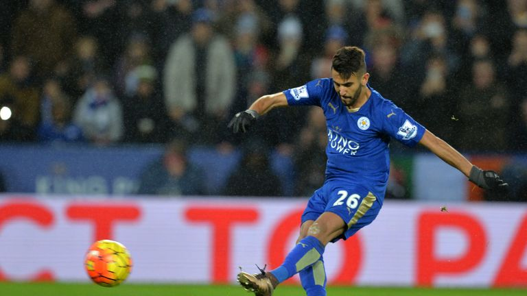 Leicester's Riyad Mahrez has this penalty kick saved by Bournemouth goalkeeper Artur Boruc (not pictured)
