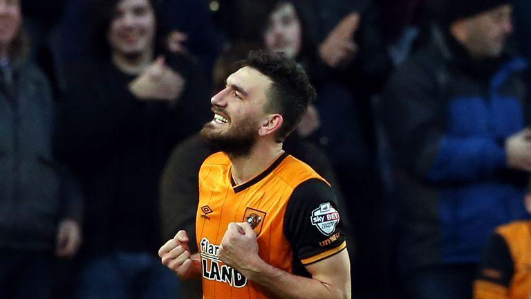 Robert Snodgrass celebrates after scoring Hull's winner against Brighton