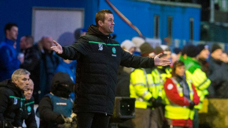Celtic manager Ronny Deila gives instructions from the technical area during 3-0 Scottish Cup win at Stranraer