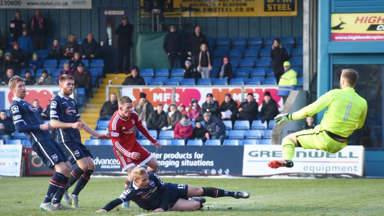 County's Scott Fox (right) makes an acrobatic save to deny Johnny Hayes (centre)