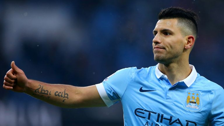Sergio Aguero of Manchester City celebrates