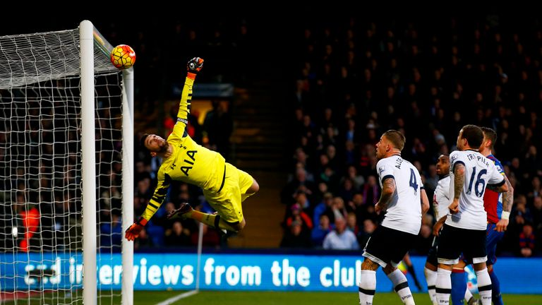 Hugo Lloris of Tottenham Hotspur makes a save