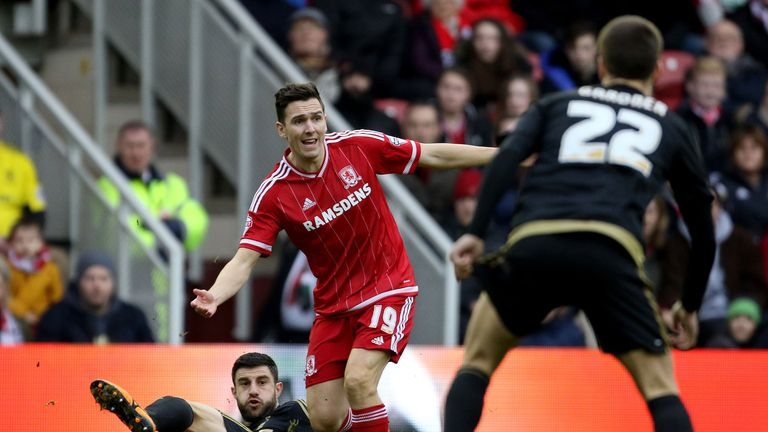 Stewart Downing in action for Middlesbrough against Nottingham Forest.