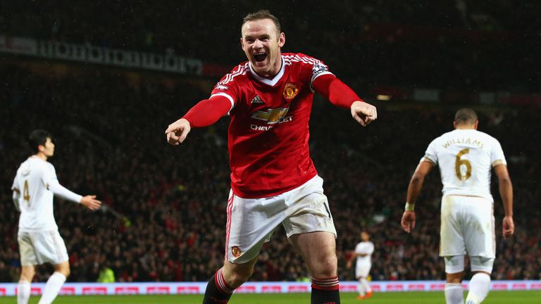 Wayne Rooney celebrates after scoring for Manchester United against Swansea