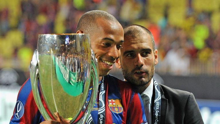 Image result for Pep Guardiola with Thierry Henry
