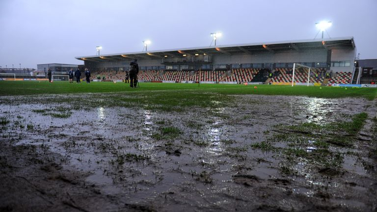 The Rodney Parade pitch was left waterlogged