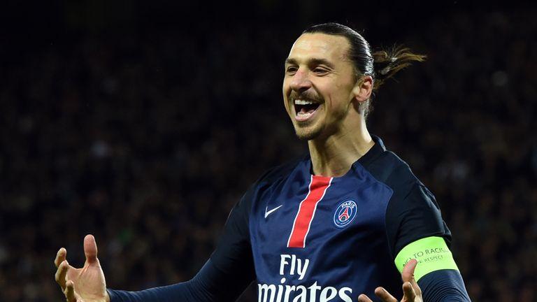 Paris Saint-Germain's Swedish forward Zlatan Ibrahimovic celebrates after scoring a goal