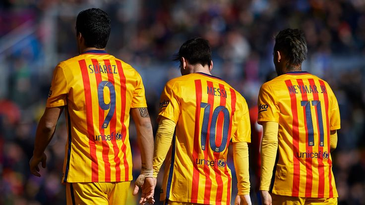 Luis Suarez, Lionel Messi and Neymar JR of Barcelona