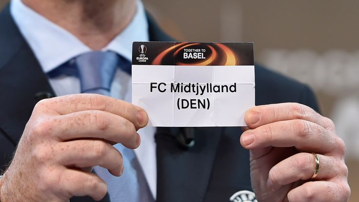 Gianni Infantino shows the name of FC Midtjylland football club during  the draw for  the UEFA Europa league round of sixteen, on December 14, 2015