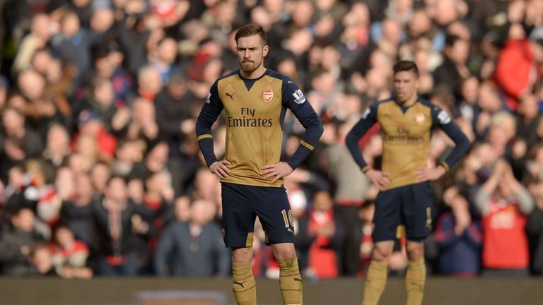 Aaron Ramsey looks dejected as Arsenal fall to defeat at Old Trafford