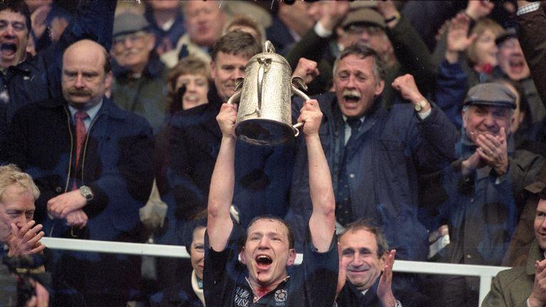Scotland captain Andy Nicol lifts the Calcutta Cup in 2000