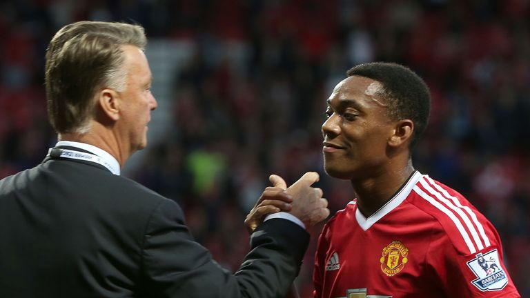 Louis van Gaal congratulated Anthony Martial after scoring on his debut against Liverpool