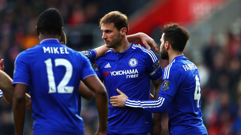 Branislav Ivanovic is congratulated by team-mates after his late winner