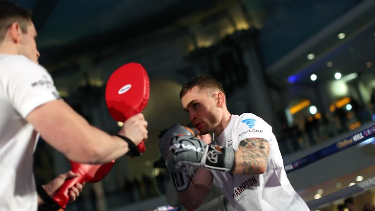 Carl Frampton takes part in a public work out at Intu Trafford Centre in Manchester