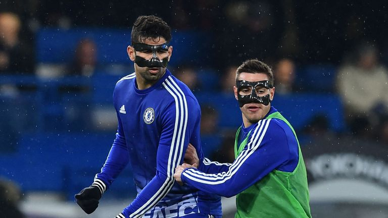 Diego Costa and Cesar Azpilicueta wore face masks against Newcastle