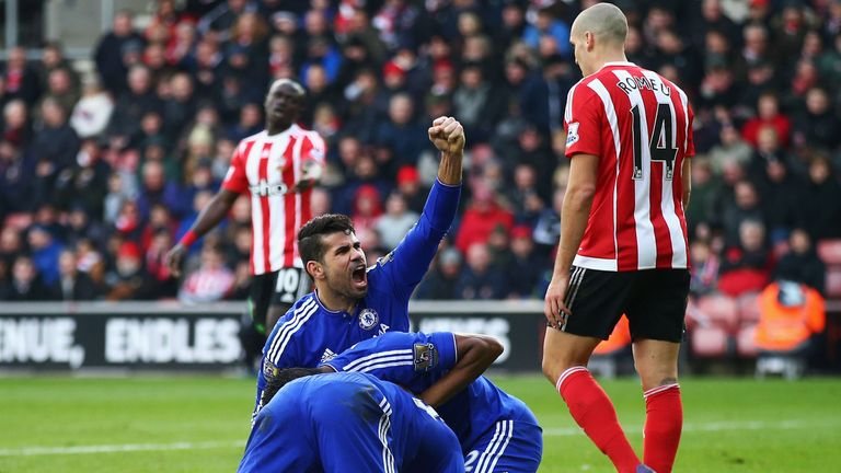 Chelsea players celebrate their second goal against Southampton