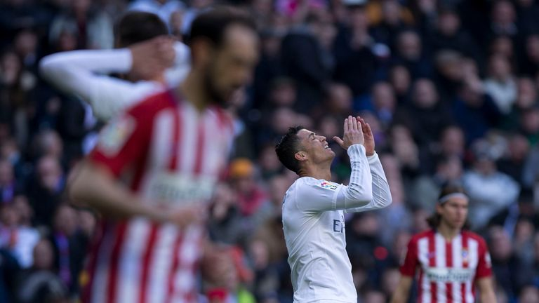Cristiano Ronaldo of Real Madrid reacts during the derby defeat