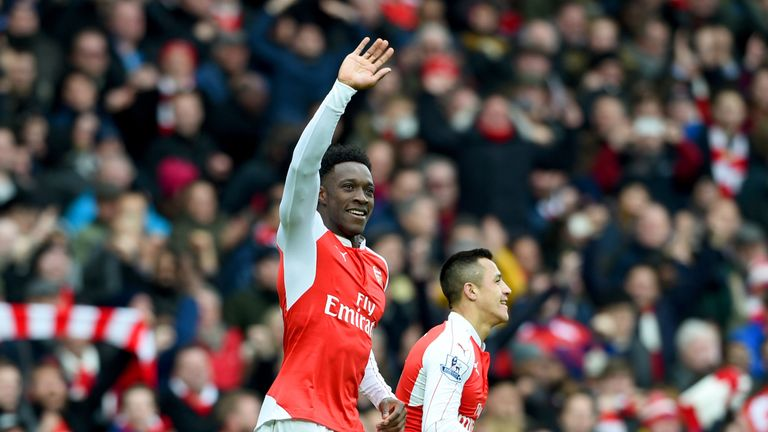 Danny Welbeck of Arsenal celebrates after scoring the winning goal during the Barclays Premier League match between Arsenal and Leicester