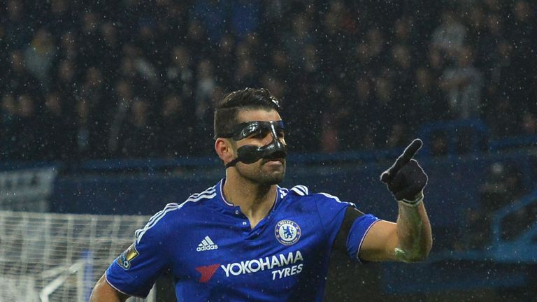 Diego Costa celebrates scoring Chelsea's opening goal against Newcastle