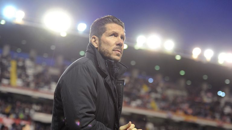 Head coach Diego Simeone of Club Atletico de Madrid looks on during the La Liga match between Club Atletico de Madrid and Rayo Vallecano