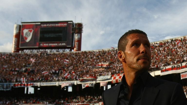 Diego Simeone, manager of River Plate, enters the Estadio Monumental in February 2008