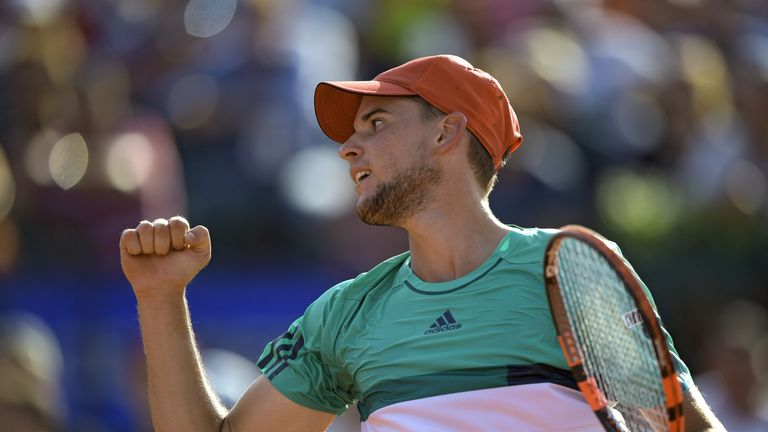 Dominic Thiem celebrates after clinching a place in the final