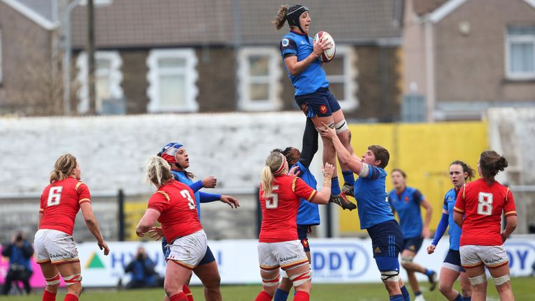 The French take possession of the ball at the lineout during  their defeat in Wales