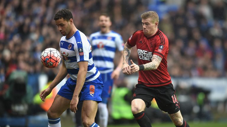 Hal Robson-Kanu of Reading and James McClean of West Bromwich Albion compete for the ball during the FA Cup fifth round match