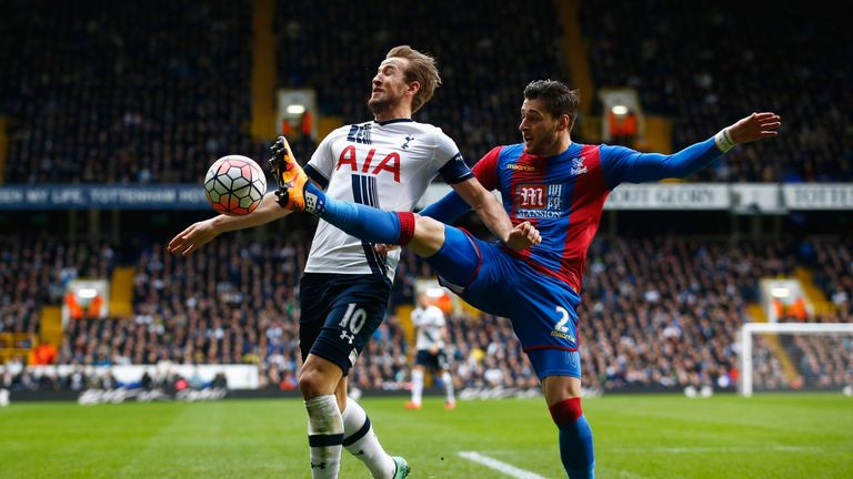 Harry Kane is challenged by Joel Ward