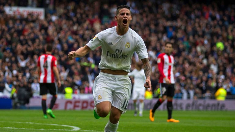 James Rodriguez of Real Madrid CF celebrates