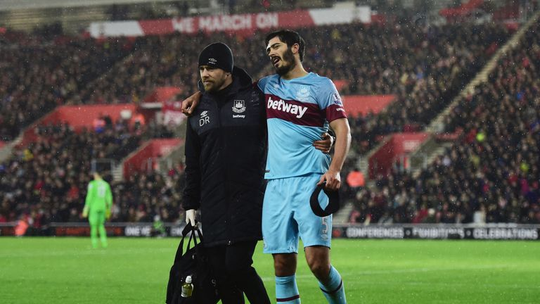 James Tomkins picked up an injury against Southampton