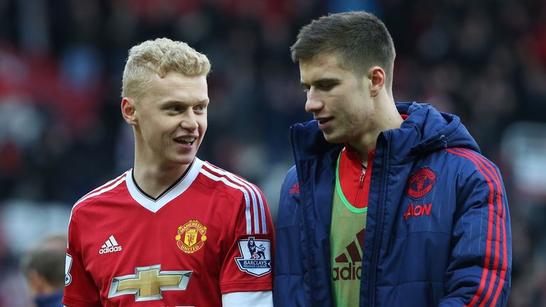 James Weir and Patrick McNair of Manchester United