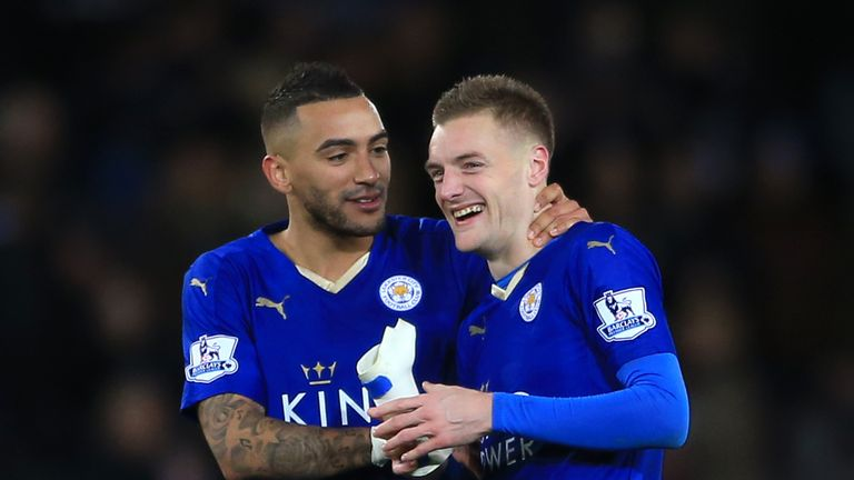 Leicester City's Jamie Vardy (right) and Danny Simpson celebrate victory after the final whistle