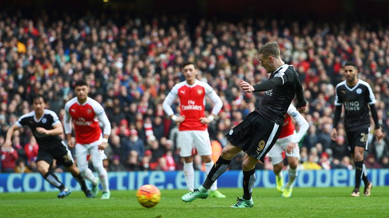 Jamie Vardy of Leicester City scores the opening goal from the penalty spot during the Barclays Premier League match against Arsenal