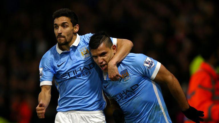 Jesus Navas, Sergio Aguero, Watford v Manchester City, goal celeb, Premier League, 2 January 2016