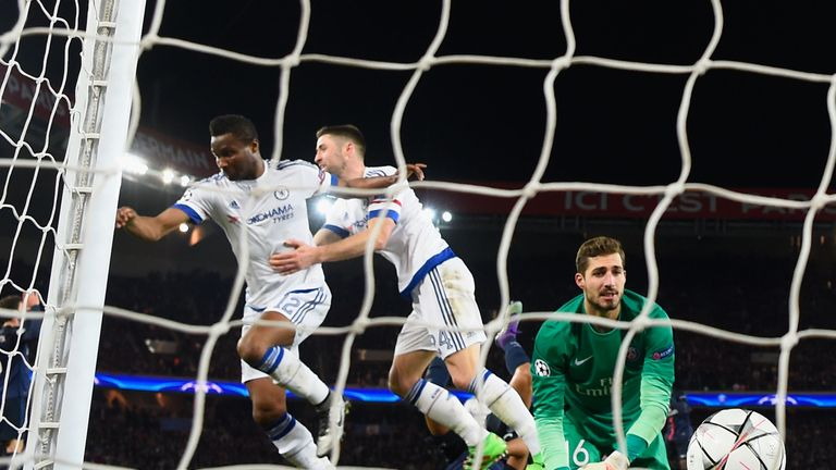 John Mikel Obi of Chelsea (L) celebrates with Gary Cahill as he scores the equaliser past goalkeeper Kevin Trapp, PSG v Chelsea, Champions League
