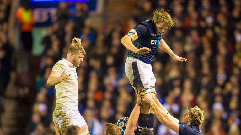 Jonny Gray (top, right) hits the heights for Scotland against England