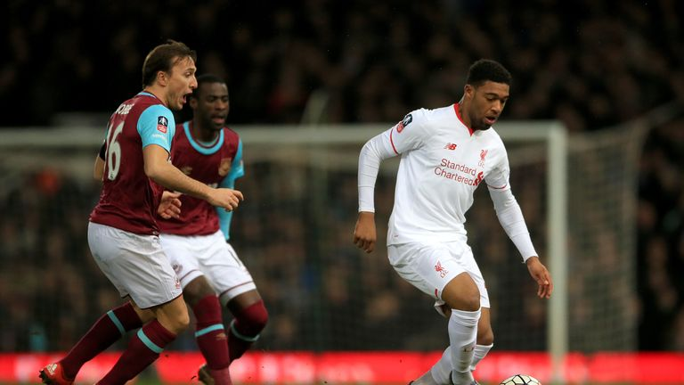 Liverpool's Jordon Ibe (right) and West Ham United's Mark Noble in action