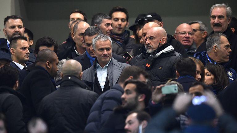 Jose Mourinho (C) attends during the Serie A match between Inter Milan and Sampdoria